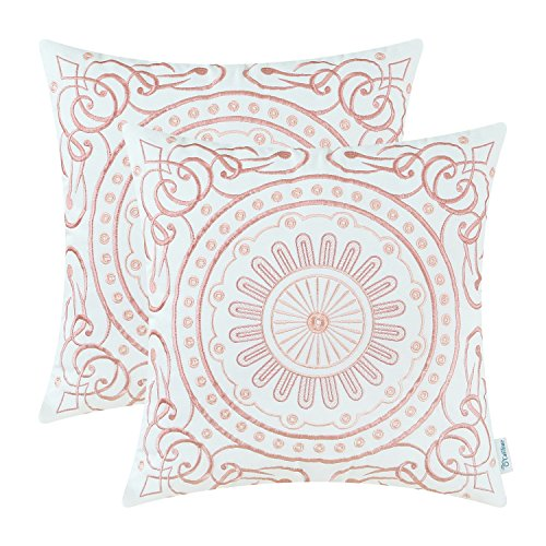 Pack 2, CaliTime Cotton Throw Pillow Covers, Vintage Compass Floral Embroidered, 18 X 18 Inches, Coral Pink