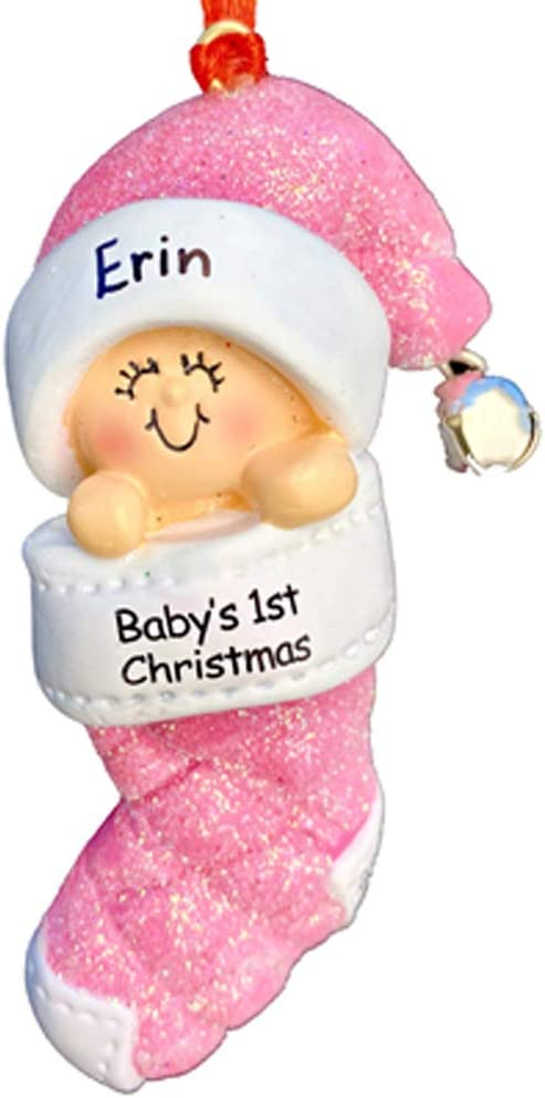 Ornament Central Baby's 1st Christmas, Girl Christmas Ornament - Free Personalization, Baby in Christmas Stocking Pink