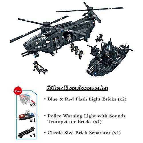 Yeomark Police Swat Coast Guard Building Sets Military Helicopter