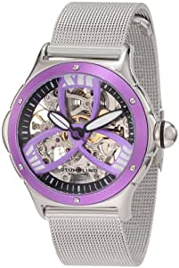 Stuhrling Original Women's 5ATM.121161 Champion Alpine Girl Automatic Skeleton Purple Bezel Stainless Steel Mesh Bracelet Watch
