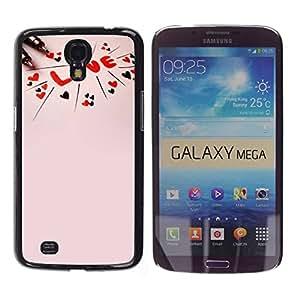 Paccase / SLIM PC / Aliminium Casa Carcasa Funda Case Cover para - Love Text Pink Peach Red Hearts Valentines - Samsung Galaxy Mega 6.3 I9200 SGH-i527