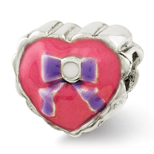 925 Sterling Silver Charm For Bracelet Kids Enameled Heart Bow Bead Kid Line Fine Jewelry Gifts For Women For Her ()