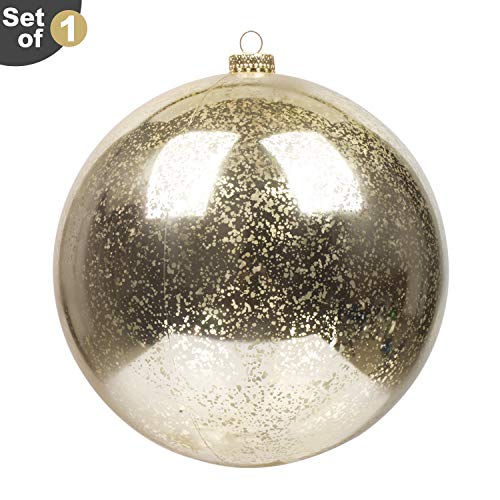 KI Store Large Christmas Ball Ornament Champagne Gold Oversize Decorative Hanging Mercury Ball 8 Inch Oversize Shatterproof Vintage for Xmas Decoration