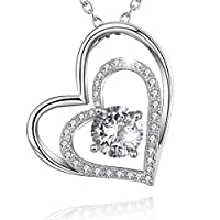 """STUNNING FLAME"" Heart Necklaces in Sterling Silver with Simulated Diamond, Love Jewelry Pendant for Girlfriend Mother Mom"