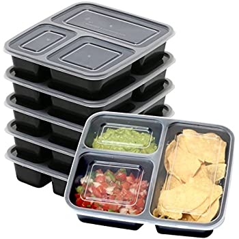 6 Pack - SimpleHouseware 3 Compartment Reusable Food Grade Meal Prep Storage Container Boxes (36 ounces)