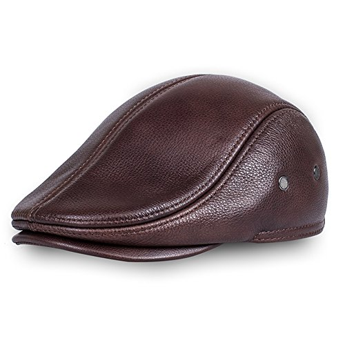 Cap Driving Leather (Vemolla Men's Real Cowhide Leather Beret Hunting Cap Beanie Trucker Cap Mens Sports Hat Red Brown L)