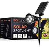 SOLVAO Solar Spotlight (Upgraded) - Ultra Bright, Waterproof, Outdoor LED Spot Light with Auto On/Off Function - Best Sun Powered, Rechargeable Uplight for Lighting Flag Pole, Landscape, Yard & Garden