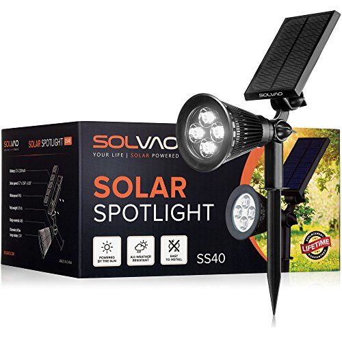 SOLVAO Solar Spotlight (Upgraded) - Ultra Bright, Waterproof, Outdoor LED Spot Light with Auto On/Off Function - Best Sun Powered, Rechargeable Uplight for Lighting Flag Pole, Landscape, Yard & Garden - Decorative Pole Lighting