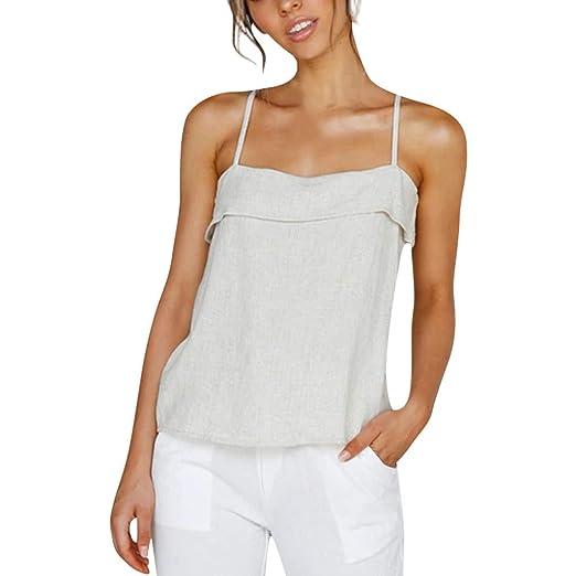 1871ff86c77 Ljnuanrg Women's Solid Color Casual Tops Summer Ladies Off-The-Shoulder Ruffled  Top Vest
