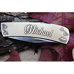 "DKC-1000-B MICHAEL Personalized Name Knife Custom Hand Engraved Minted In Antique Brass 4.5 oz 6.75"" Long Open 2 7/8"" Blade 4"" Closed NAMANO MINT SERIES"