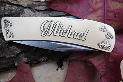 Brass Blade Antique Custom (DKC-1000-B MICHAEL Personalized Name Knife Custom Hand Engraved Minted In Antique Brass 4.5 oz 6.75