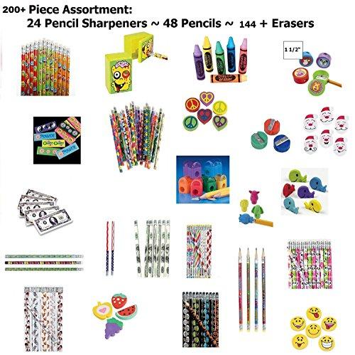 200-pc-back-to-school-assortment-48-pencils-24-sharpeners-144-erasers