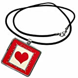 3dRose Beverly Turner Valentine Design - Red Heart Frame, I love you - Necklace With Rectangle Pendant (ncl_40548_1)