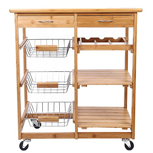 Clevr rolling bamboo kitchen cart island trolley cabinet for Bamboo kitchen cabinets australia