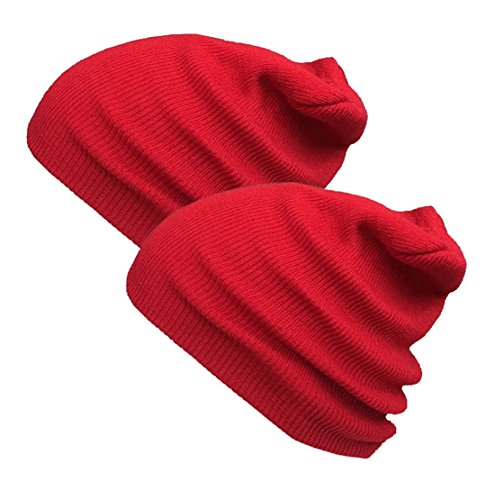 Red Beanie Kids (Beanie Warm Comfortable Soft Oversized Thick Cable Knitted Hat Unisex Knit Caps-Red)