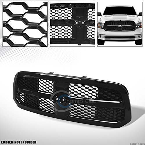 R L Racing Glossy Black Finished Oe Honeycomb Mesh Front Hood Bumper Grill Grille 2013 2017 For Dodge Ram 1500
