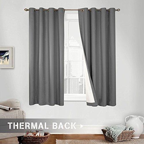 Thermal Lined Room Darkening Curtains 63, Light Reducing Panels for Bedroom, Grey, Grommet Top, One Panel (Double Panel Curtains)