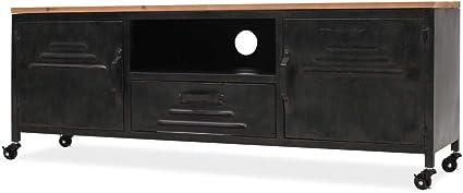 Tidyard Meuble TV Scandinave Meuble de Rangement avec 1 Compartiment et 1 Tiroir 90 x 35 x 48 cm en Ch/êne Massif