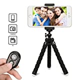 iPhone Selfie Tripod with Remote Control, Gvoo Flexible Phone Stand Holder with Wireless Bluetooth Camera Shutter for Smartphones iOS iPhone 7 Plus 6 6 Plus, 5, 5s, 5c and Android, Samsung Galaxy