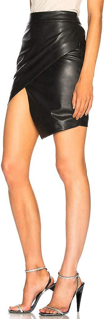 TUDUZ Falda Cruzada De Horquilla Abierta para Mujer Falda Ajustada Minifalda De Cuero Sint/ético Falda De Oficina