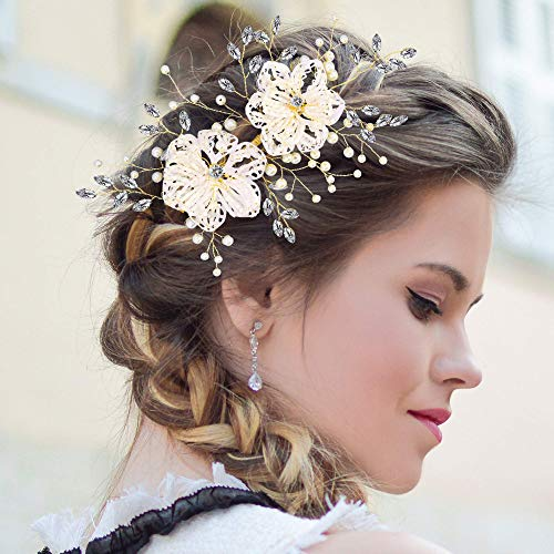 2021 Wedding Hair Flower Clear Crystal Handmade Bridal Headpieces for Wedding Party Prom Beauty Pageant Stage Performance women lady girls (Crystal Flower)