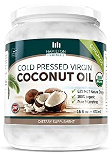Hamilton Healthcare Organic Extra Virgin Cold Pressed Coconut Oil Pure & Unrefined - 16 Ounce (1 lb)