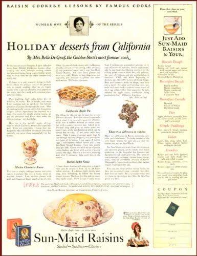 Amazon Com California Dessert Recipes In 1924 Sun Maid Raisins Ad Original Paper Ephemera Authentic Vintage Print Magazine Ad Article Posters Prints