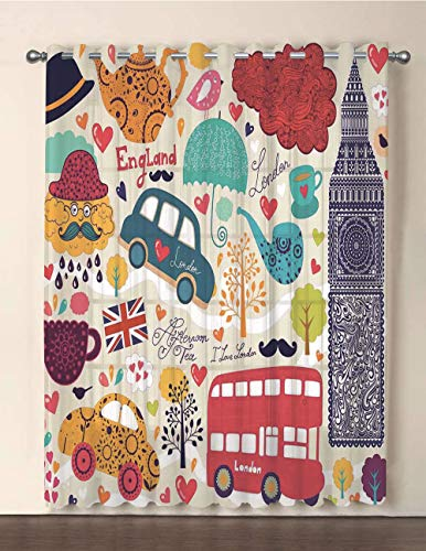 One Panel Extra Wide Sheer Voile Patio Door Curtain,London,Colorful Local Symbols Painting Red Bus Big Ben Tea Pot Cup Umbrella and Retro Cab,Multicolor,for Sliding Doors(108
