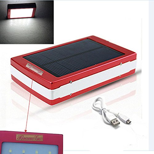 External Panel (BraveGo 3 in 1 Brand New Universal 10000mAh Portable Dual Panel USB External Backup Battery Charger Solar energy portable power bank with LED camp lamp flashing Emergency lights for Climbing Running Bike Riding Camping Diving Outing Compatible with for mp3 Player tablet laptop computers iPad Air Mini iPhone 6 5S 5C 5 4S Galaxy S5 S4 S3 Note 3 4 Nexus 4 5 7 10 HTC One One 2 (M8) Microsoft Surface Pro 3 Kindle Fire Red))