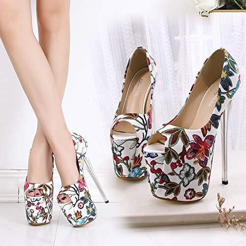 Soirée De Peep Chaussures Fleur Haut Toe red Talon Cm uk3 Qzx eu35 Femme Open Plateforme Shoes 9 Broderie 19 Escarpins na6Caq