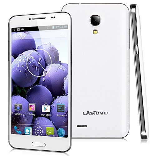 Landvo L800S 5.0'' IPS Unlocked 3G Smartphone Android 4.4.2 Kitkat OS Capacitive TouchScreen Cellphone MTK6582 1G RAM+4G ROM Quad Core Mobile Phone 5.0MP Dual Camera OTG GPS WIFI Bluetooth (white)