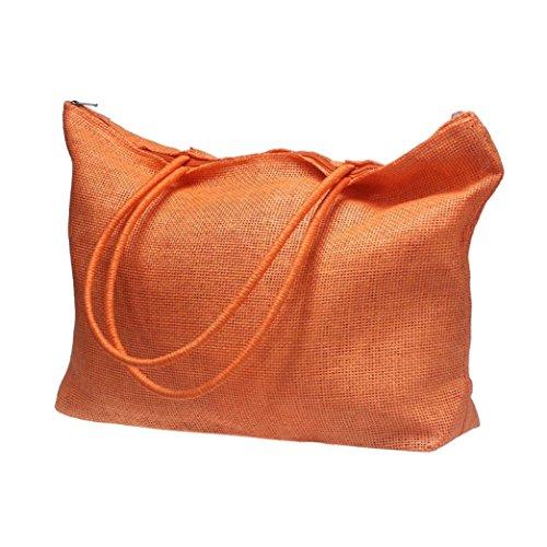 Casual Bandoulière Des Bonbons Orange Simple Femmes Couleur Main Sac Plage À Sacs Paille Feitong Grands xBwqR74YY