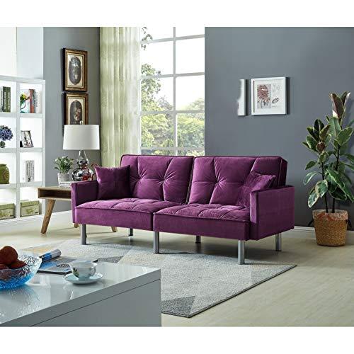 (Overstock Emma Velvet Mid Century Sofa Sleeper Brown)