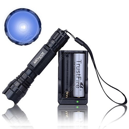 NKTECH NK-501B 1-Mode UV LED 365nm Violet Backlight Flashlight Searching Camping Torch Head Light Lamp + TrustFire 18650 Battery + Charger (Black Torch + 18650 2400mAh Battery + Charger)