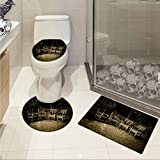 jwchijimwyc Hobbits pattern Four Small Wooden Rustic Chairs in Backyard Hobbit Land New Zealand Sepia Image 3 Piece Toilet lid cover mat set Brown
