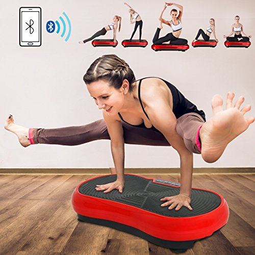 Fitness Vibration Platform Full Body Workout Machine Vibration Plate W/Remote Control and Balance Straps, Bluetooth Exercise Equipment(Red) by Nova Microdermabrasion (Image #1)