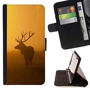 - morning nature deer moose sunset sunrise/ Personalizada del estilo del dise???¡¯???¡Ào de la PU Caso de encargo del cuero del tir???¡¯????n del s - Cao