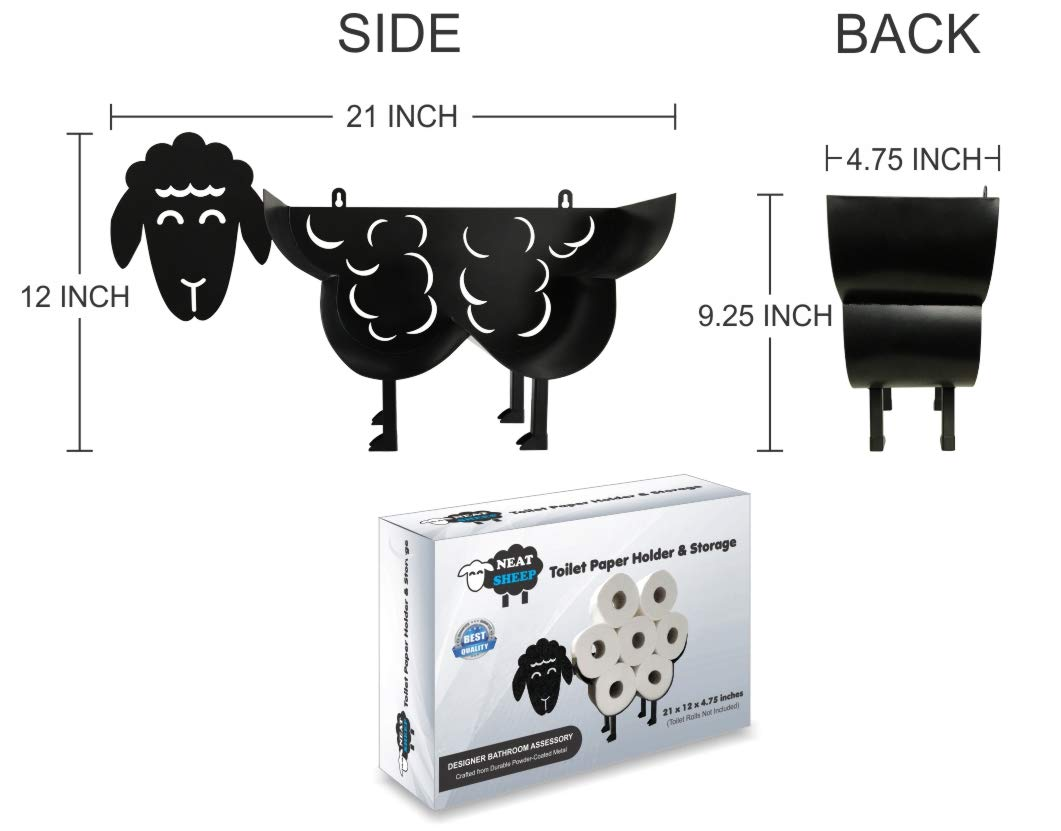 Cute Black Sheep Toilet Paper Roll Holder - Cool Novelty Free Standing or Wall Mounted Toilet Roll Tissue Paper Storage Stand & Holder | Bathroom Floor Decor Accessories | Best Gifts Idea - Neat Sheep by NeatSheep (Image #4)