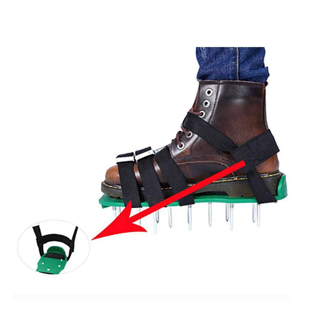 Heavy Duty Spiked Sandals for Aerating,4 Adjustable Straps Lawn Aerator Spike Shoes Effectively Aerating Lawn Soil