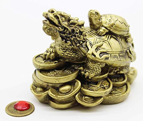Mose Cafolo Feng Shui Dragon Turtle Wealth Protection Brass Statue Figurine Housewarming Congratulatory Paperweights Gift Home Decor
