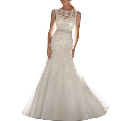 Brautkleider Hochzeitskleider Meerjungfrau mit Perlen Spitze ...