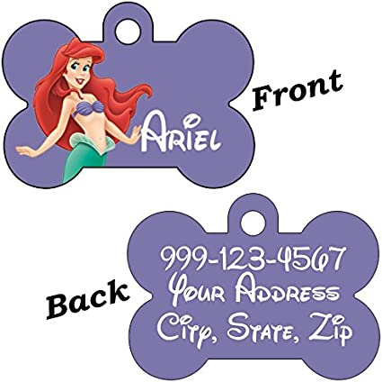 Disney Princess Ariel Double Sided Pet Id Dog Tag Personalized for Your Pet