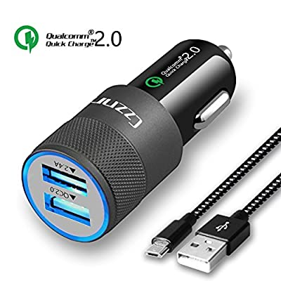 Car Charger,Czznn Quick Charge 2.0 Dual USB Car Adapter Smart Charging for iPhone Samsung Galaxy Note with 3Ft Micro USB Android Cable by Czznn