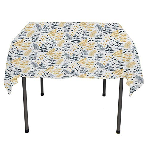 - Botanical Kitchen Tablecloth Forest Plant Leaf Fern Honey Locust Pinnate Whorled Flowers Dark Petrol Blue Apricot White tablecloths Party Decorations Square Tablecloth 60 by 60 inch