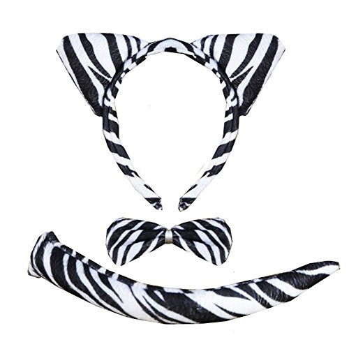 Zebra Ears And Tail Set (3PCS Animals Cute Headband Party Costume, Ear with Tail Tie (Zebra))