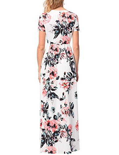 d44b2fd1ed90 Lavi Beauty Women s 3 4 Sleeve Floral Print Maxi Dress With Pockets ...