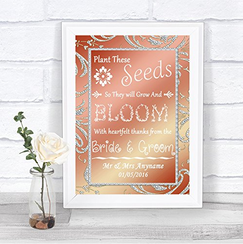 The Card Zoo Coral Pink Pack Of Seeds Personalized Wedding Sign
