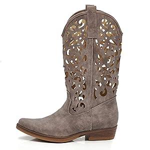 Texani Scarpe da Donna Cowboy Western Stivali Stivaletti Punta Camperos Etnici DT-16