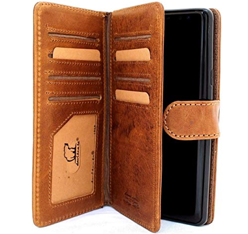 Genuine Leather Case Samsung Galaxy Note 9 Book Wallet Cover Handmade Detachable Retro Luxury Cards Slots Magnetic Daviscase 1948 note9