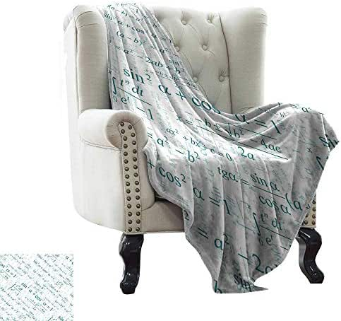 LsWOW Flannel Throw Blanket Mathematics Classroom Decor,Various Complex Math Formulas Operations Science Research Study,Teal White Blanket for Sofa Couch TV Bed All Season 30
